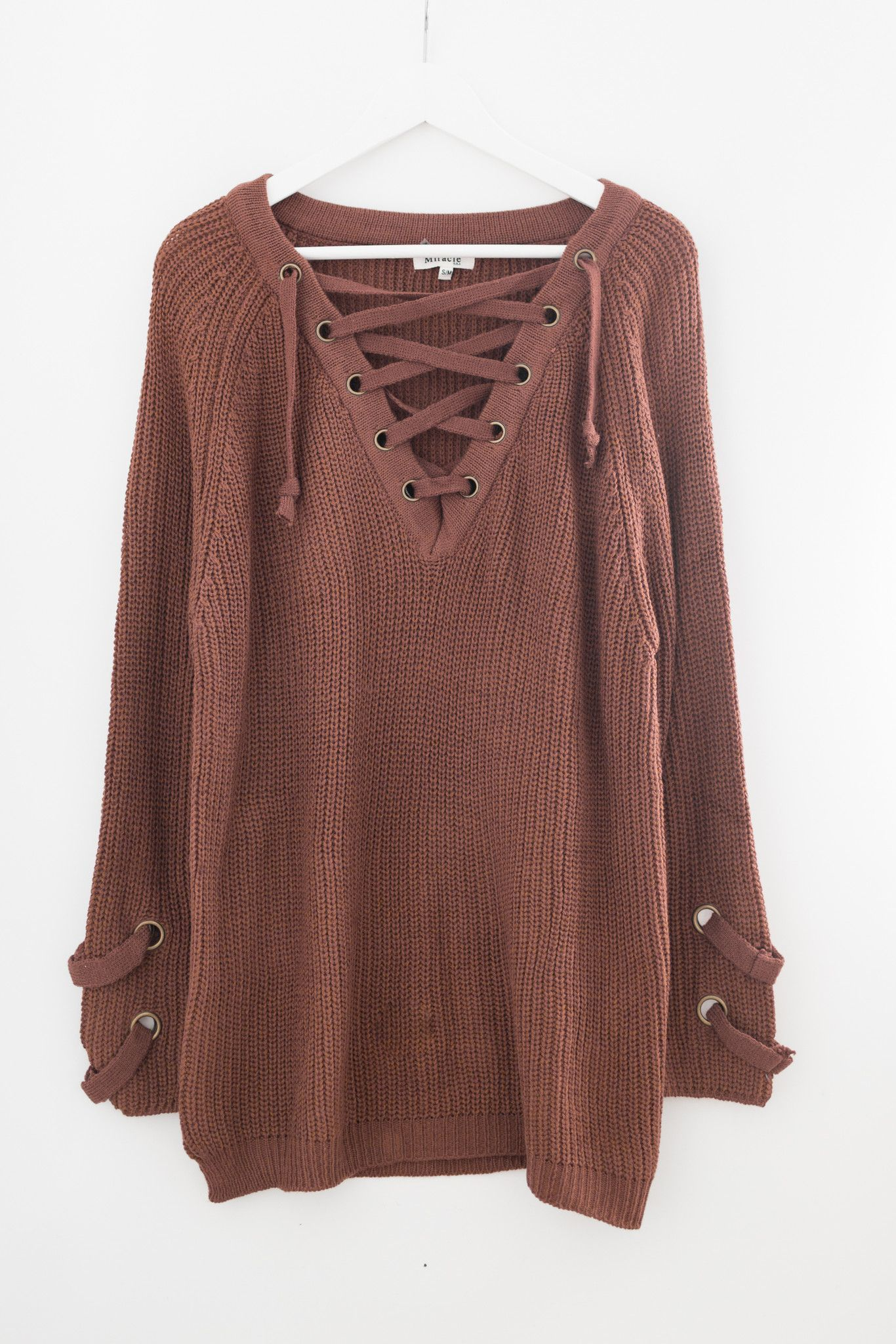 8daf6171e7 Chunky knit sweater tunic - Lace-up front - Long sleeves with criss-cross  strap side detailing - Slightly loose fit - Size S M measures approx.