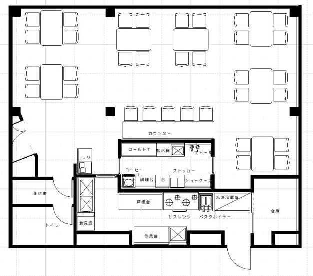 カフェベーカリー厨房設計レイアウト図面 飲食店の内装工事 厨房機器 厨房 設計 レイアウト レストランのデザイン