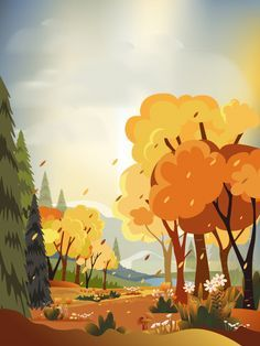 Fantasy panorama landscapes of countryside in autumn,panoramic of mid autumn with farm field, mountains, wild grass and leaves falling from trees in yellow foliage. Wonderland landscape in fall season. Download the vector at freepik.com now! #Freepik #vector #background #autumn #card #paper #illustration #autumnleavesfalling