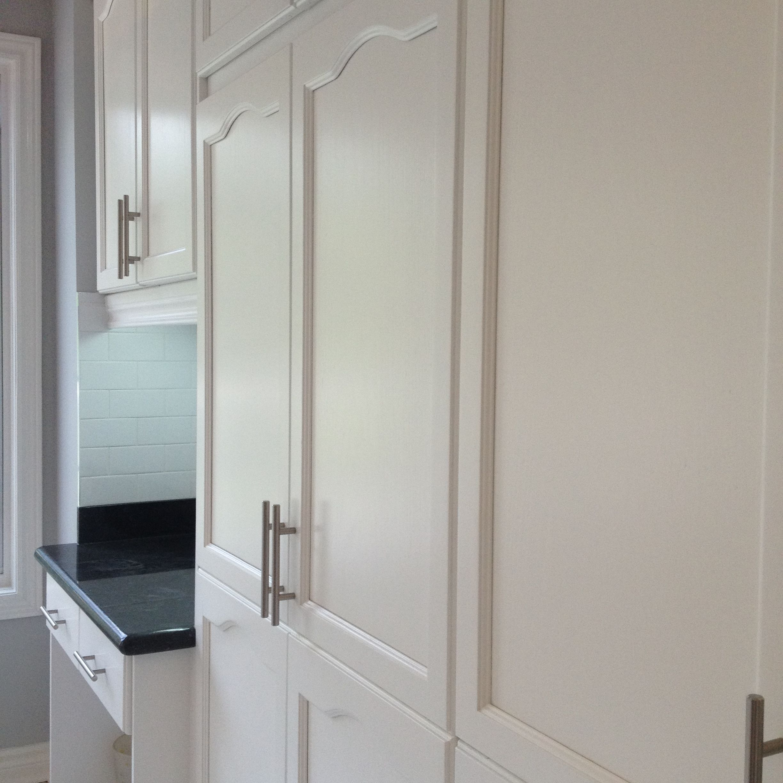 Spray Painted Oak Cabinet Doors