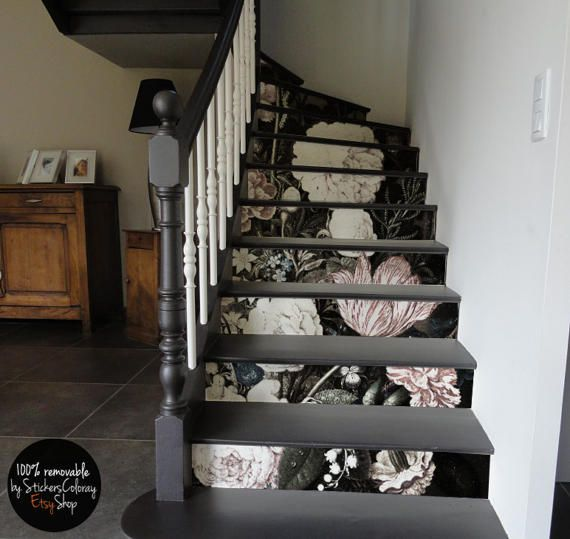 10 Step Stair Riser Decal Washed Out Vintage Flowers Stair Etsy In 2020 Stair Decor Stair Riser Decals Stair Risers