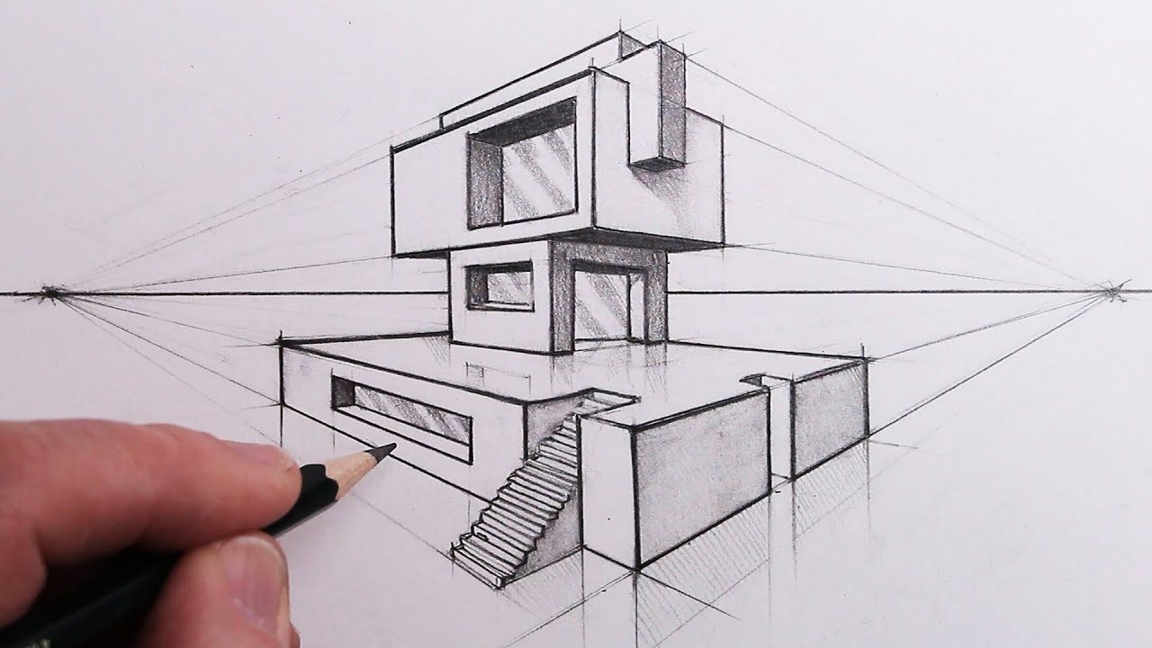 How To Draw A Building In 2 Point Perspective Step By Steps
