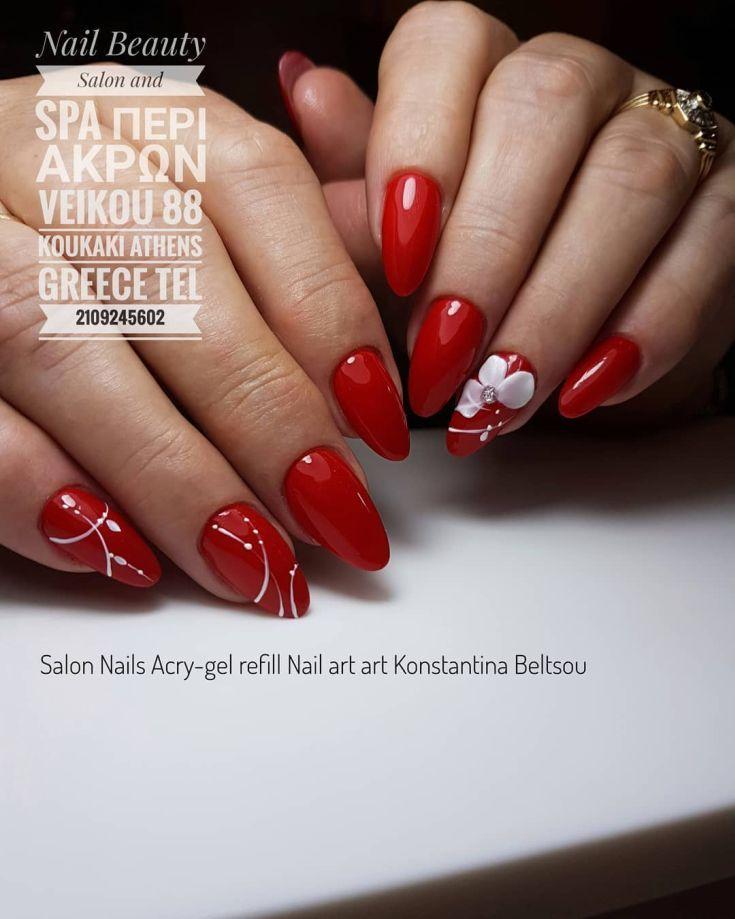 Топ 50 фото красный дизайн ногтей красивые новинки ...