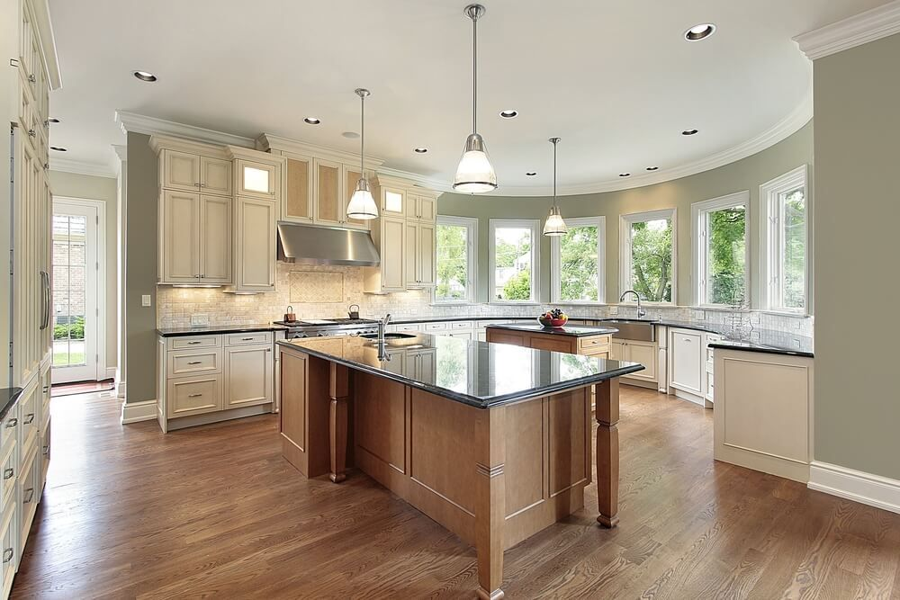 Large Semi Circular Kitchen Design With Counters And Cabinets Lining A Semi  Circular Wall