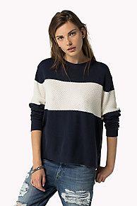 Cotton Viscose Striped Sweater. Scopri la collezione jumpers per women di Tommy Hilfiger. Resi Gratuiti.