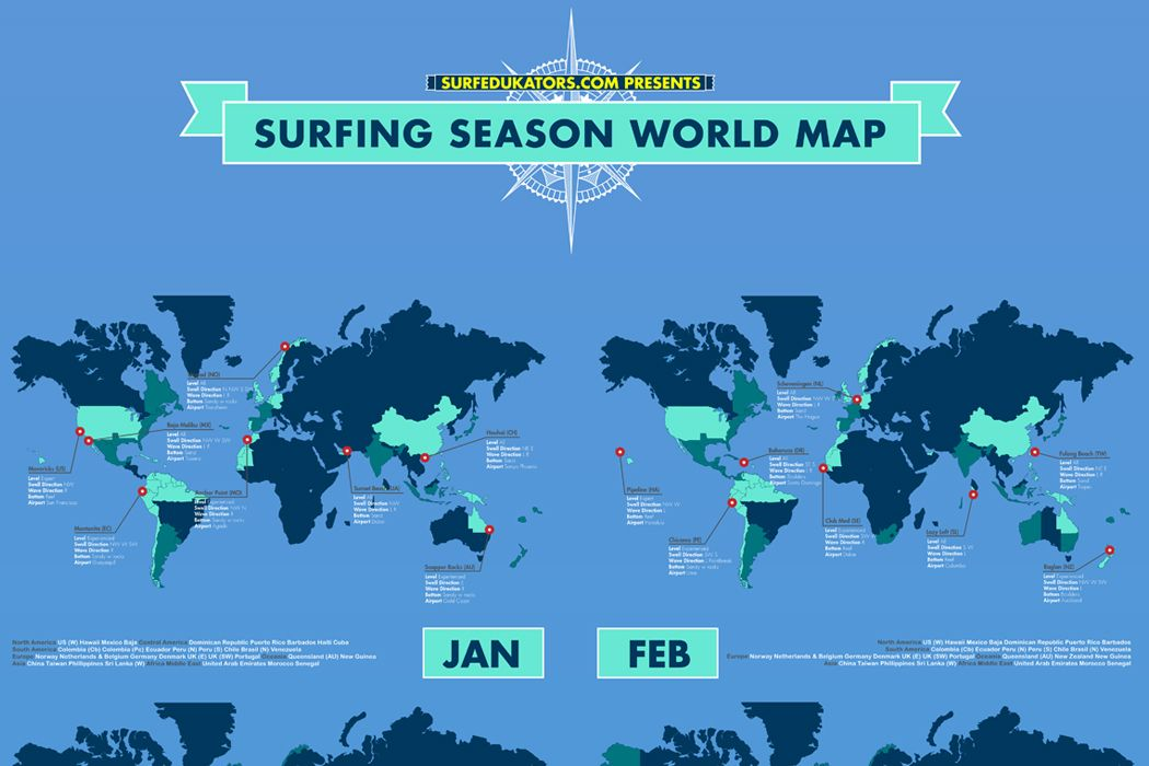 A surfing season world map with all the best surfing spots per each a surfing season world map with all the best surfing spots per each month download gumiabroncs Images