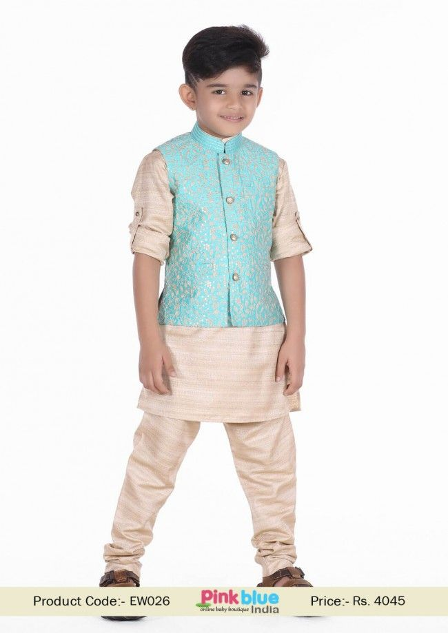 9a80a54d6 kids Indian Wedding Wear Set with Raw Silk Jacket and Ferozi kurta ...
