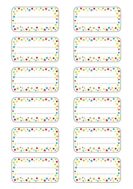 Extrêmement Etiquettes école à imprimer : modèle étoiles multicolores (1) | A  VW68