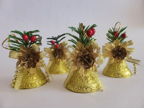 4 Vintage Christmas Bell Ornaments, Holly, Pine Cone and Gold Bell