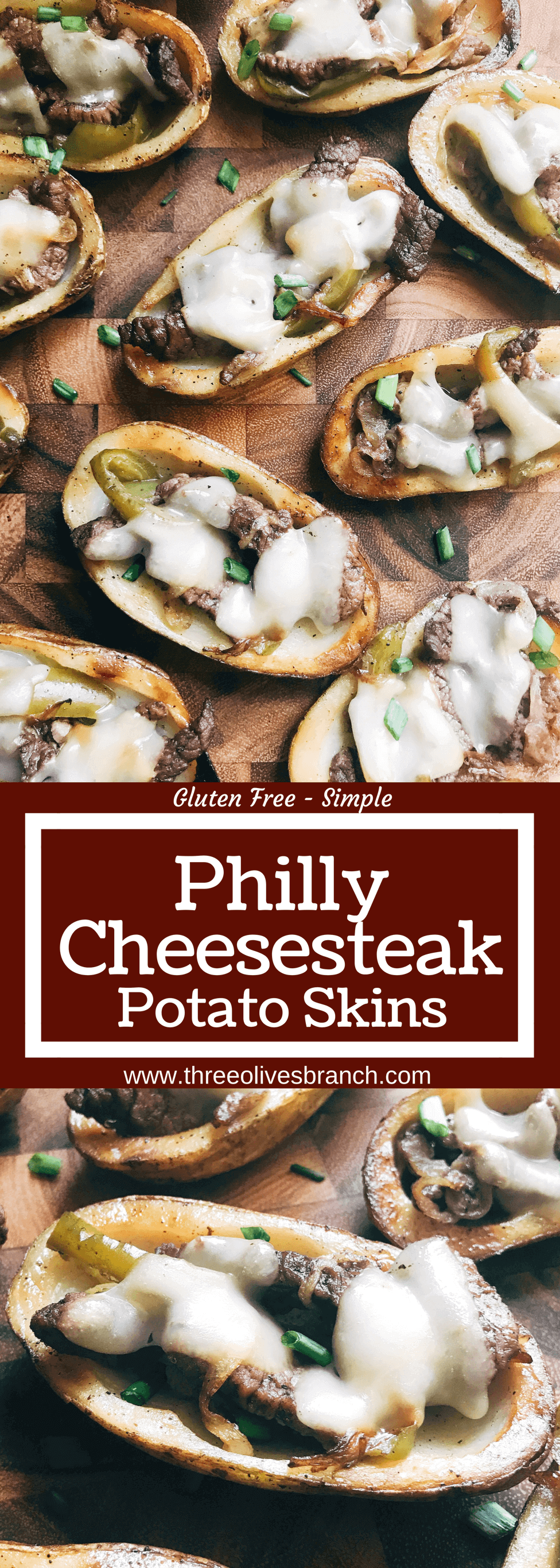 Game day appetizer full of classic Philly Cheese Steak flavors. Beef steak, bell peppers, onion, and provolone cheese in a potato skin shell. Great football food for NFL Sunday as a party snack. Gluten free. Philly Cheesesteak Potato Skins   Three Olives Branch   www.threeolivesbranch.com