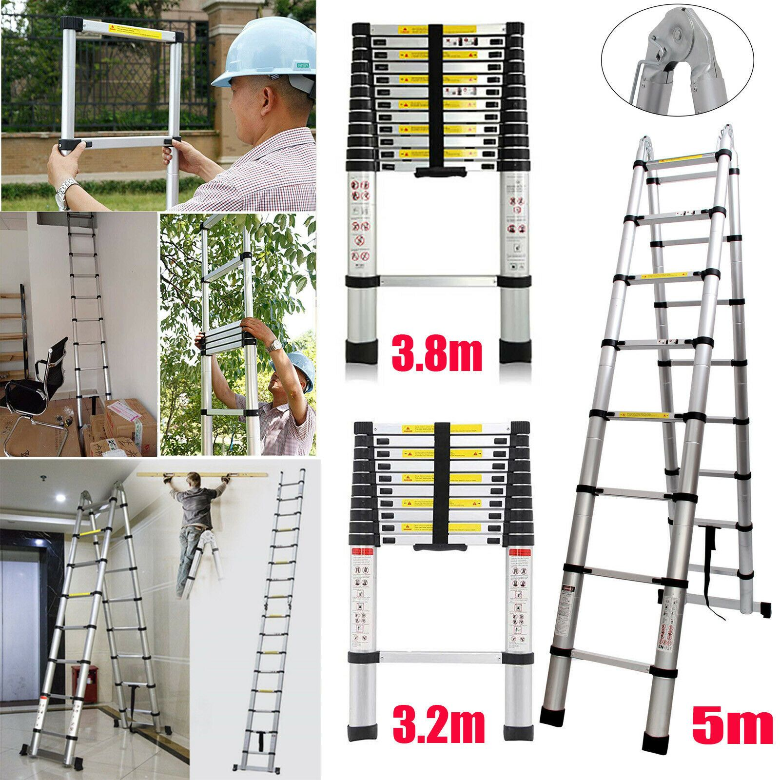 En131 10 5ft 12 5ft 16 5ft Telescopic Extension Aluminum Step Ladder Folding Usa Ladder Decor Ladderdecor In 2020 Ladder Decor Ladder Decor