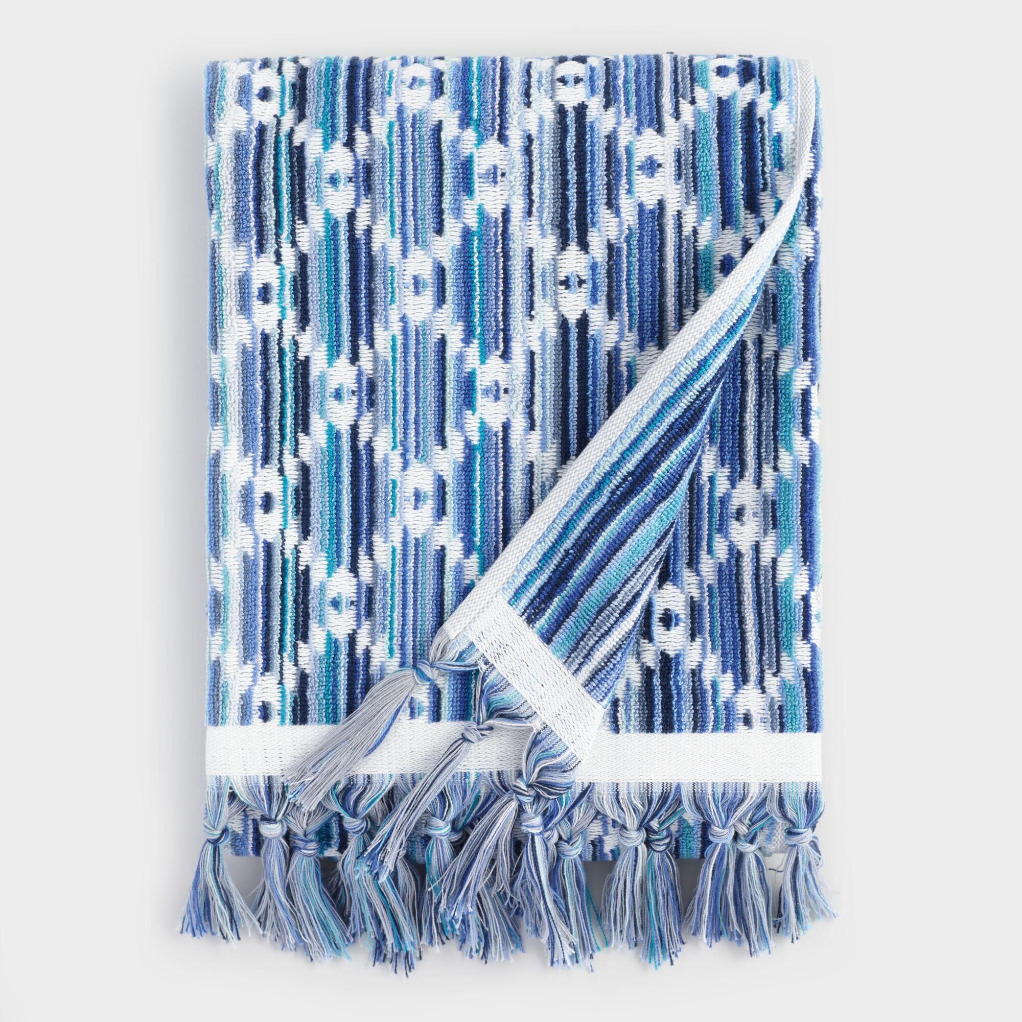 Blue Multicolor Diamond Sculpted Ayana Bath Towel Cotton Bath