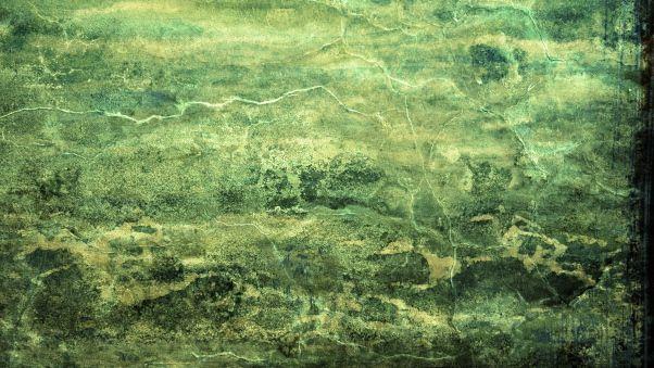 Обои стена, трещины, линии, краска, зеленый фон