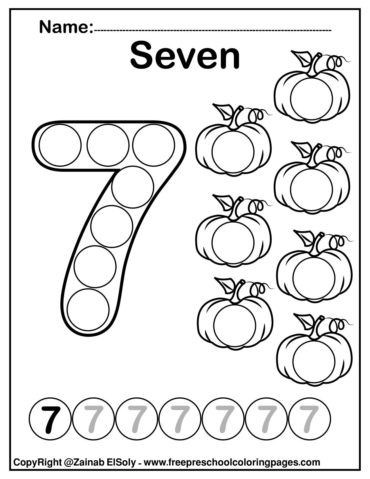 Number 7 Seven Do A Dot Marker Activity Activity Pumpkins