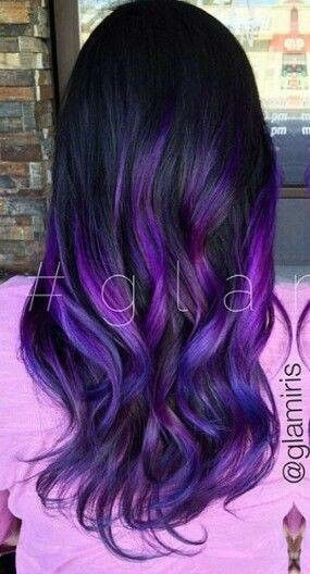 Black With Purple Ombre 3 Hair Styles Dyed Hair Ombre Hair