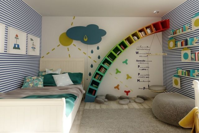 kinderzimmerw nde gestalten ideen jungs regenbogen regale streifen sonne regenwolke. Black Bedroom Furniture Sets. Home Design Ideas