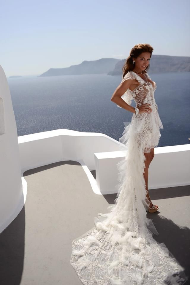 Major photo moment: Jana in her breathtaking gown custom made out of Yves Saint Laurent lace. No words ♥ — at Katikies Hotel Santorini