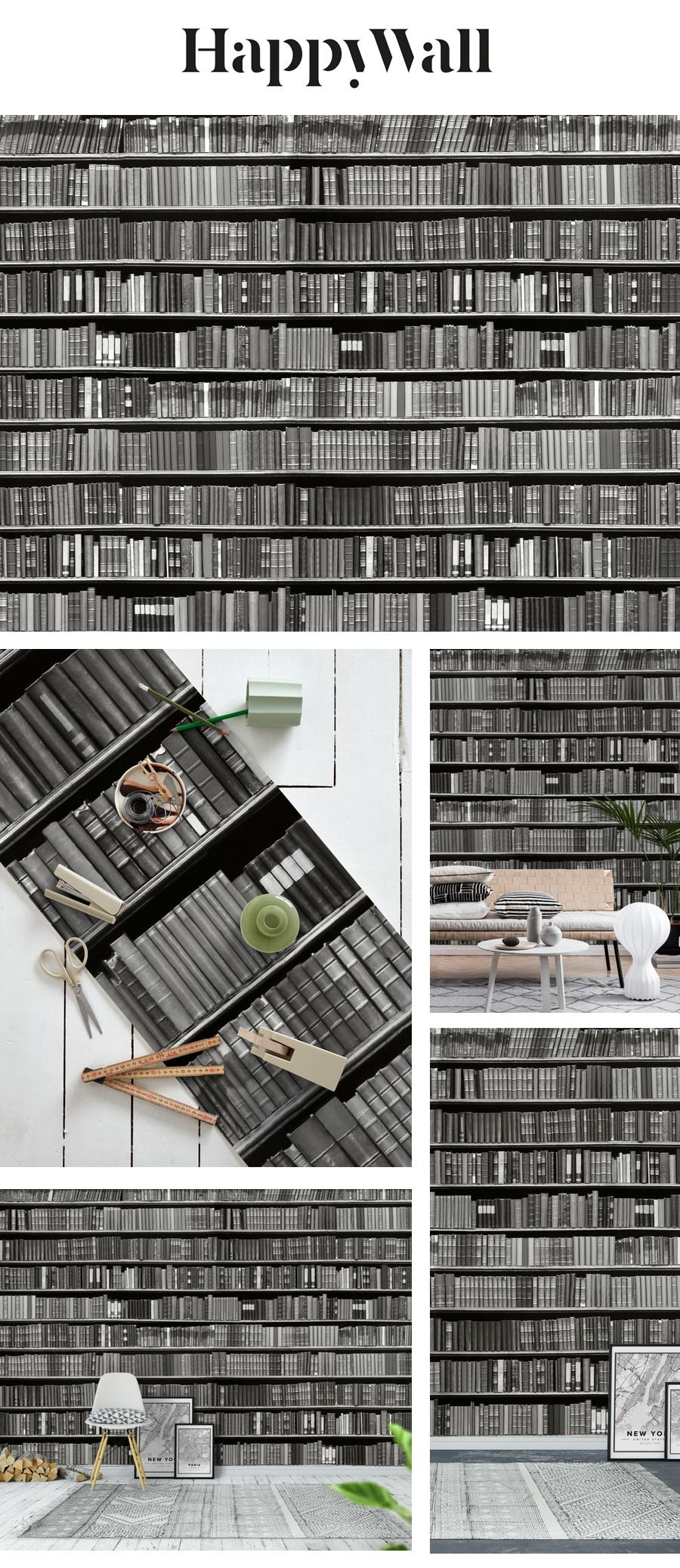 Books black and white wall mural from Happywall