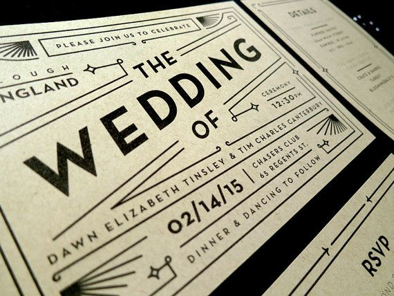 This Art Deco-inspired wedding suite is completely customizable for your wedding. Shown in black, the colors and wording can be altered to suit