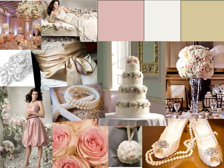 b3cfe0b4707ab Vintage Pink & Gold : PANTONE WEDDING Styleboard : The Dessy Group ...