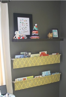 Curtain rods and fabric bookshelves