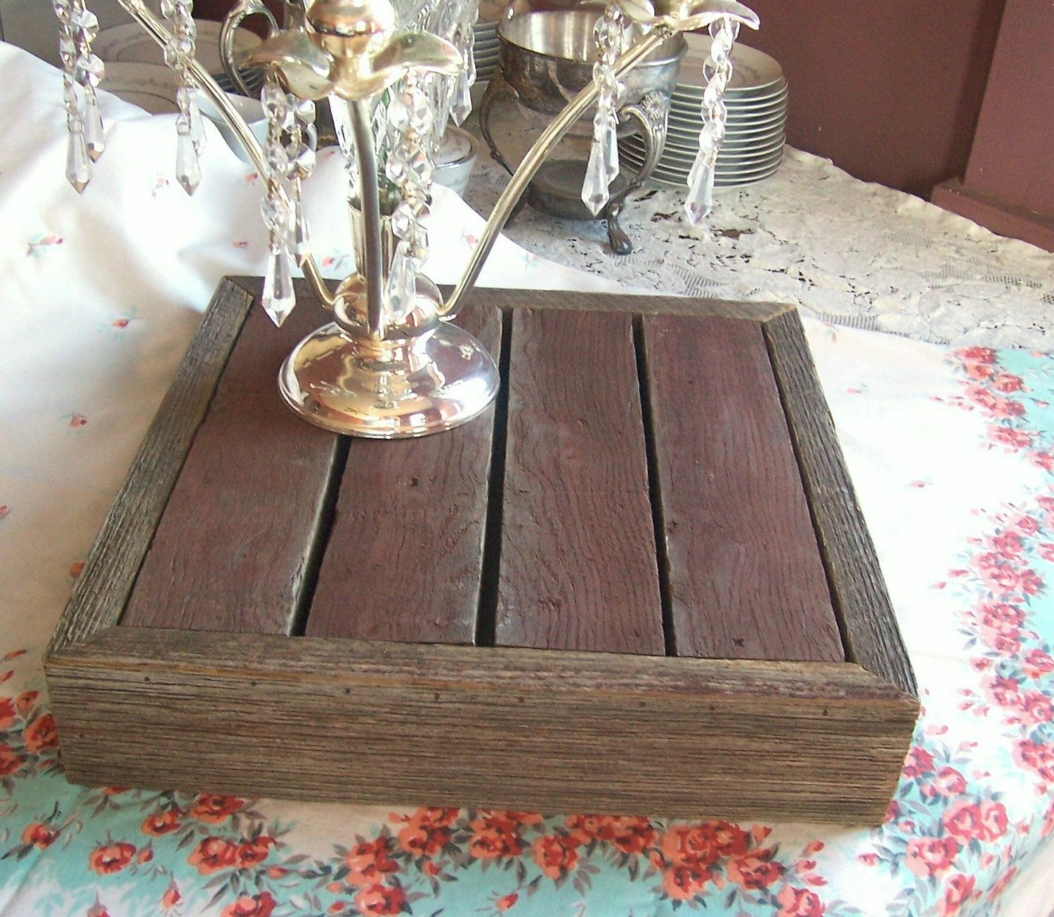 Reclaimed barn wood rustic wedding cake stand buffet