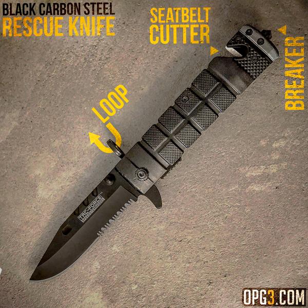 Black Rescue Folding Knife – Offroad Power Gear