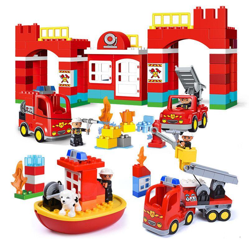 Kupować Diy Duży Rozmiar Miasta Duplo Cegły Ogień Dział Strażacy