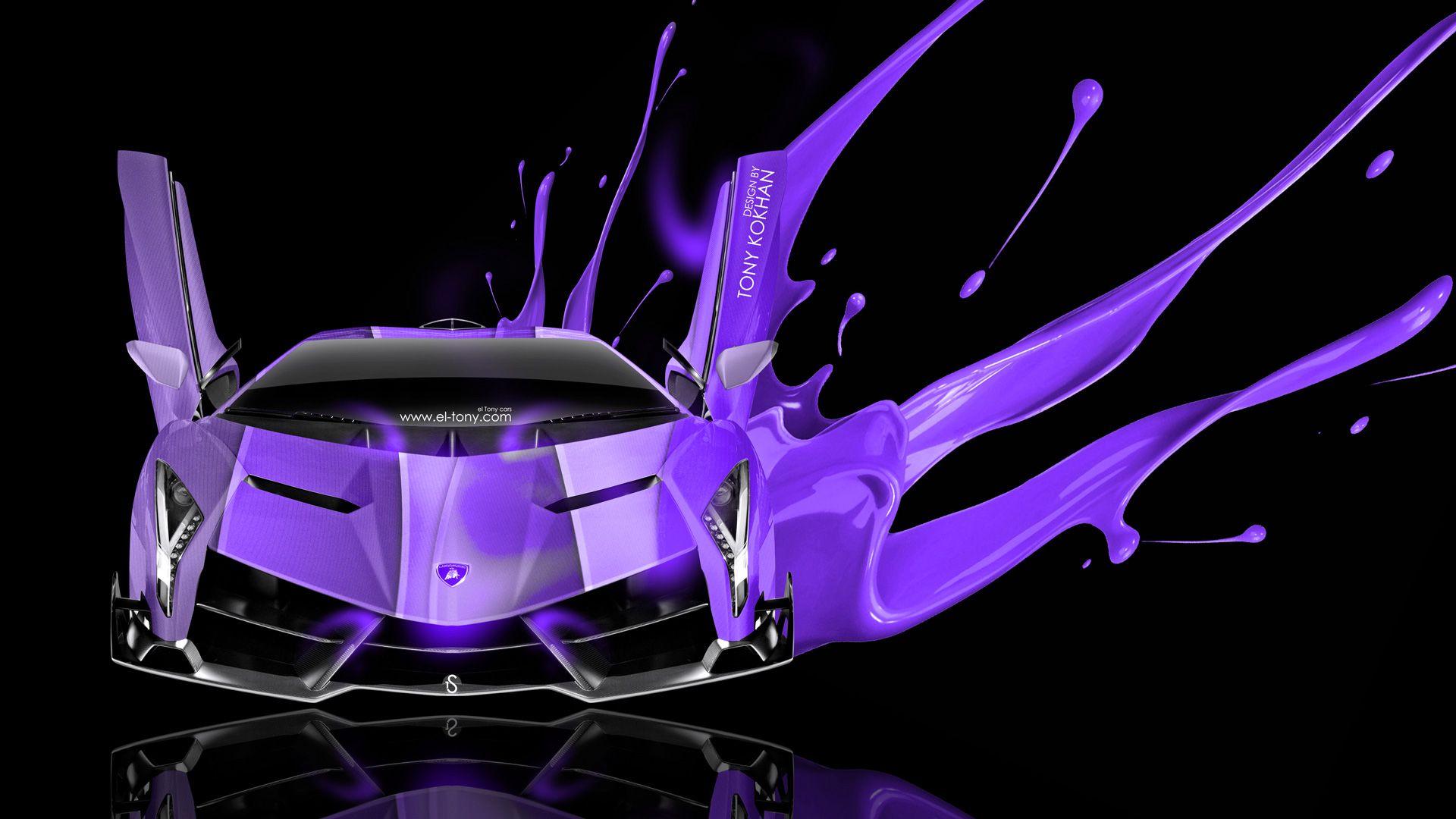 lamborghini veneno open doors art live violet colors car 2014 hd