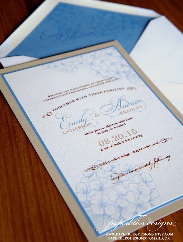 Hydrangea Wedding Invitation Suite Sample Set Blue Hydrangea