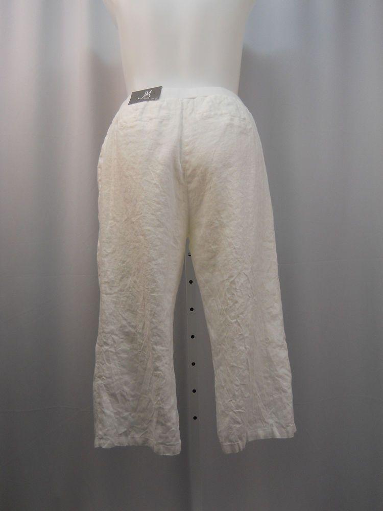 Plus Size 14w 24w Dress Capris 100 Linen Jm Collection White