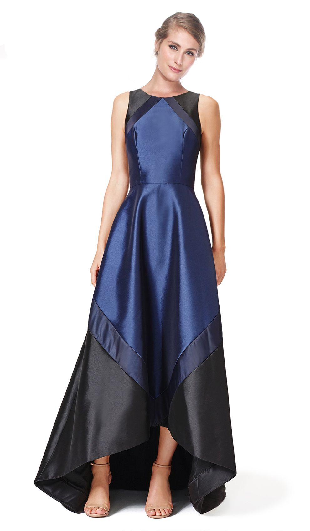 Navy black sleeveless gown hire theia couture front navy black sleeveless gown hire theia couture front ombrellifo Images