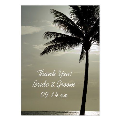 Destination Wedding Thank You Palm Tree Silhouette Beach Wedding Favor Tags Large Business Card
