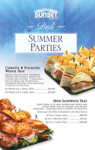 summer parties catering menu
