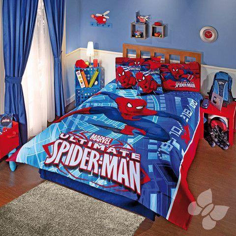 Coordinado edredon spiderman attack colchas edredones for Cuartos decorados hombre arana