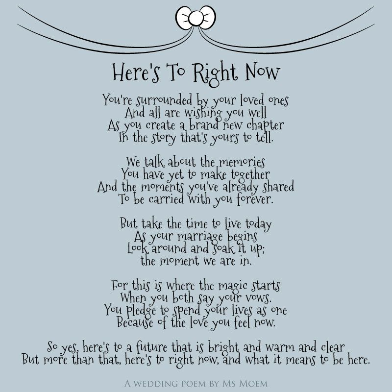Here S To Right Now Wedding Poem By English Poet Ms Moem Msmoem