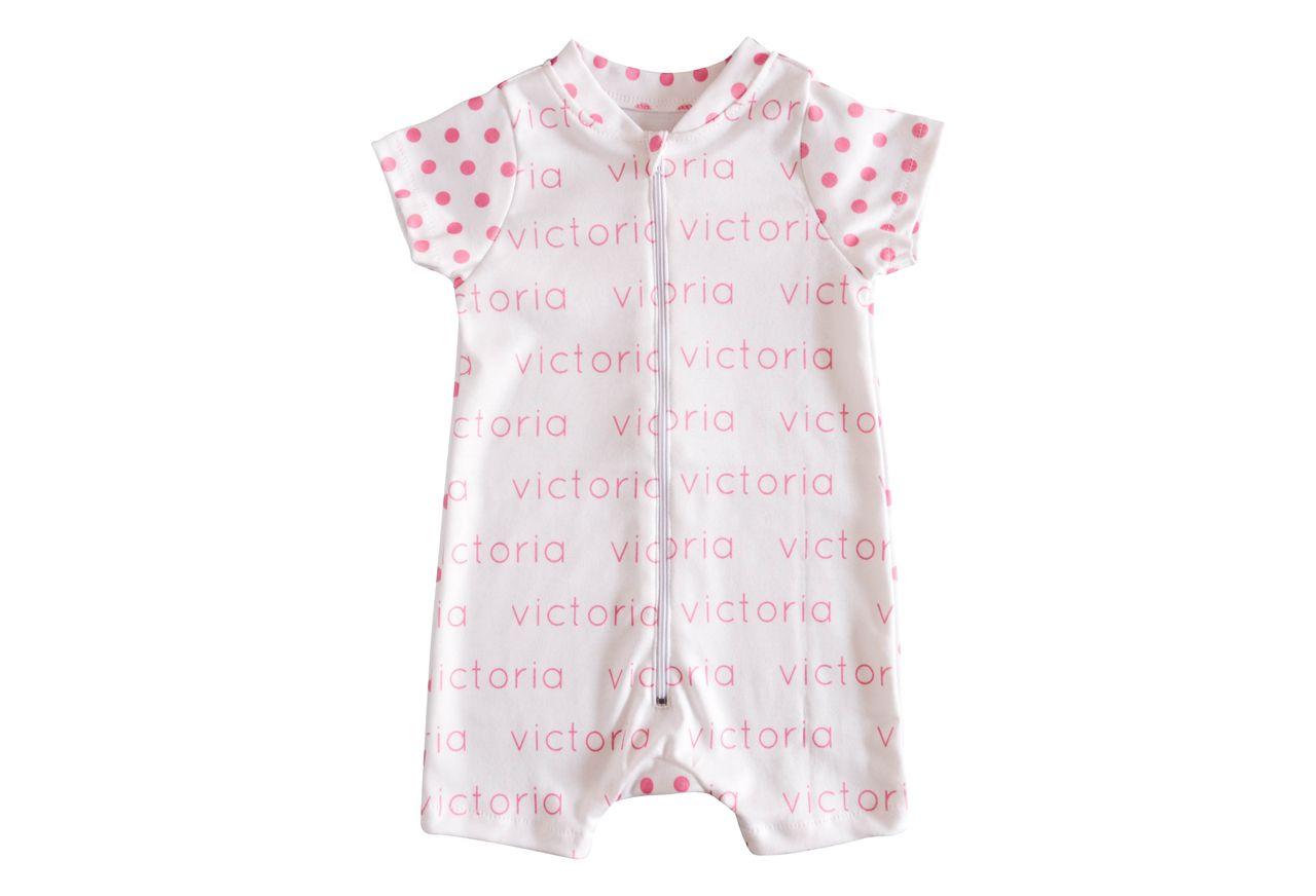 Personalized Shorts Onesie - polka dots - JenniferAnn