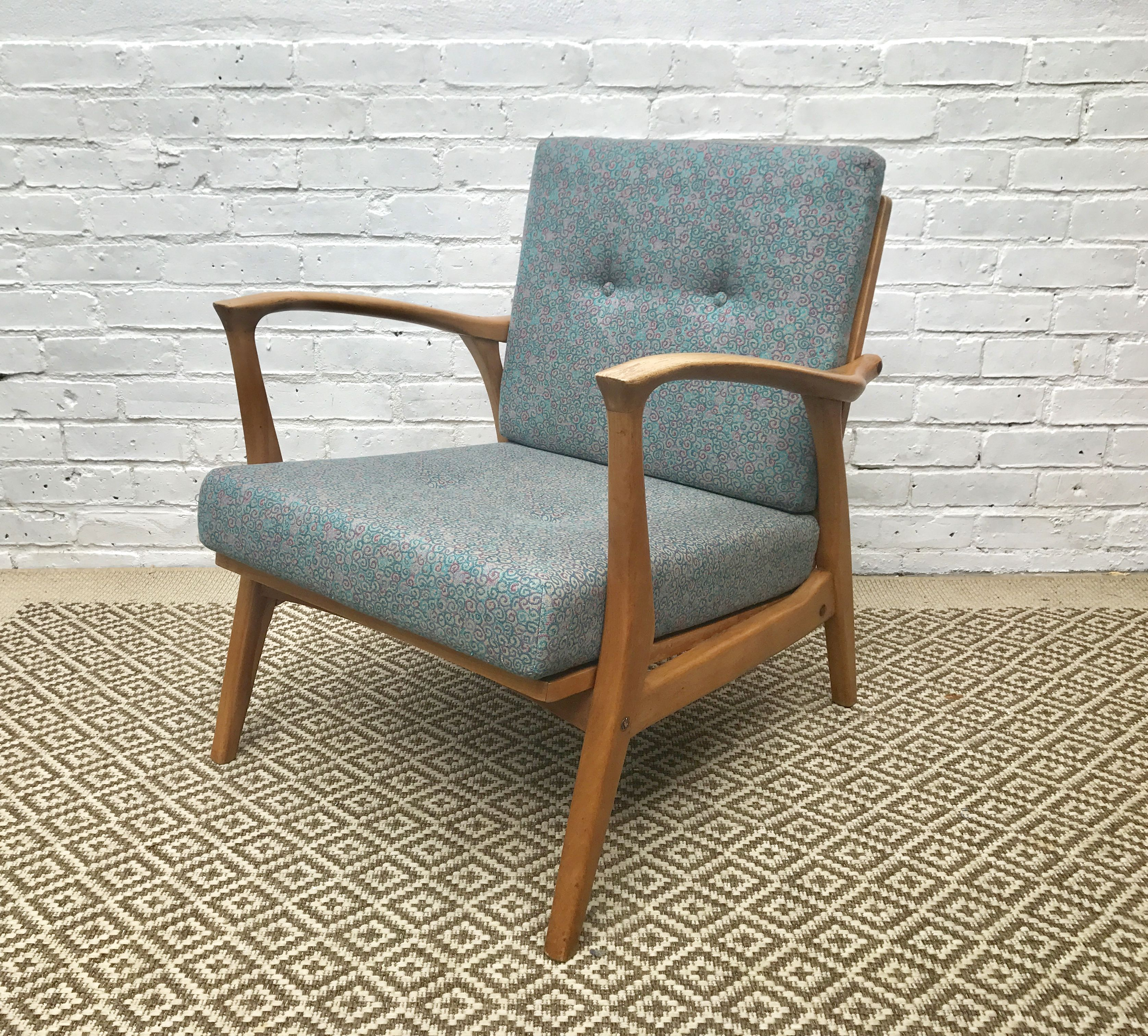 Mid Century Scandinavian Wooden Armchair 1960s 196 Home Wooden Armchair Armchair Blue Chairs Living Room
