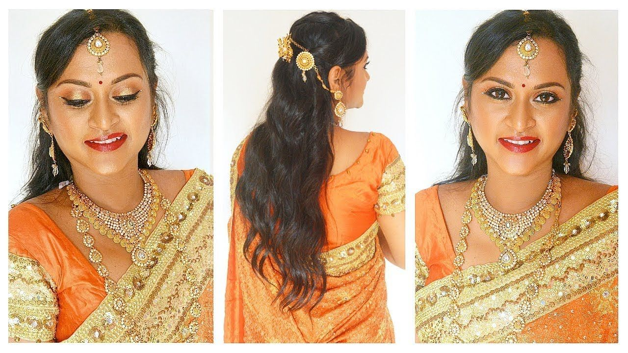 south indian bridal reception makeup & hairstyle in tamil