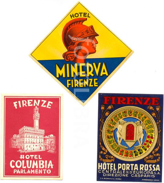 Florence, Italy, hotel luggage labels 1930s.