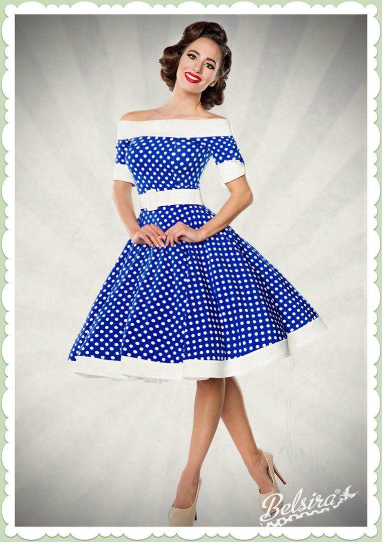 b3f7d1a579a705 Belsira 50er Jahre Rockabilly Petticoat Kleid - Dots Allover - Blau Wei