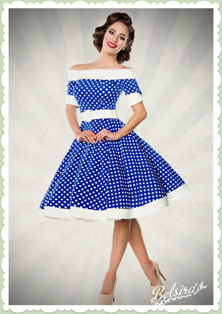 5a7499e4386e8a Belsira 50er Jahre Rockabilly Petticoat Kleid - Dots Allover - Blau Wei   Robes Vintage Des