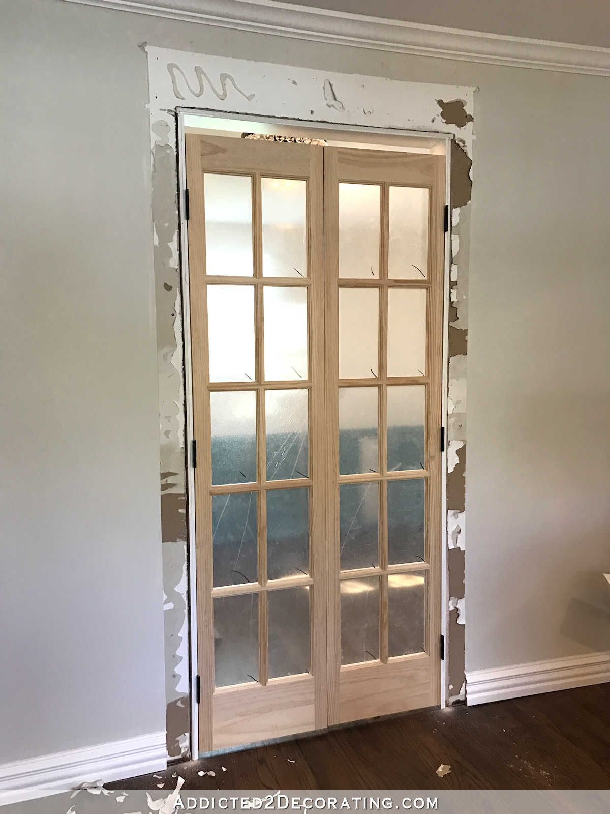 Pantry Doors Finished Bifold Closet Doors Installed As French Doors Addicted 2 Decorating Bifold Closet Doors Glass Doors Interior Custom Bifold Closet Doors