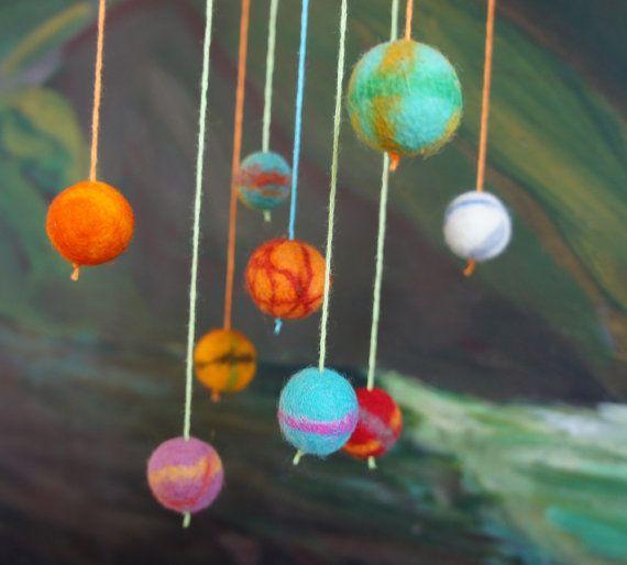 20 solar system mobile felt ball solar system felt ball - Hanging planets decorations ...