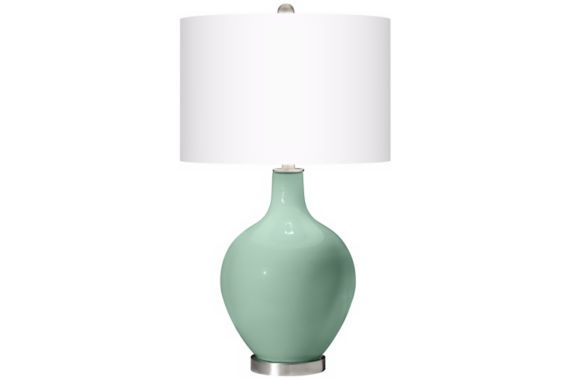White Shade Grayed Jade 28 1/2-Inch-H Ovo Table Lamp
