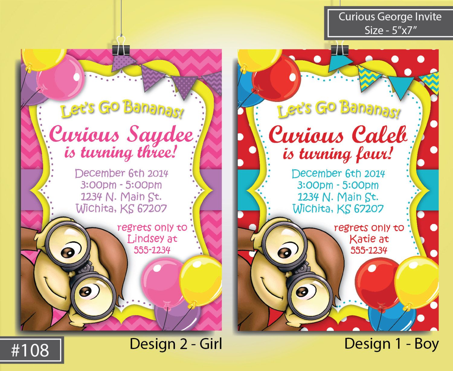 INSTANTLY EDITABLE Curious George Girl Birthday Invitation Monkey