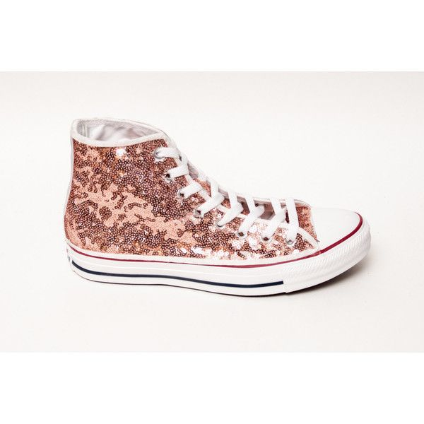 Sequin Rose Gold Canvas Customized Converse Canvas Hi Top Sneakers... (75.115 CLP) ❤ liked on Polyvore featuring shoes, sneakers, silver, sneakers & athletic shoes, tie sneakers, women's shoes, rose gold sneakers, canvas sneakers, sequin high top sneakers and white shoes