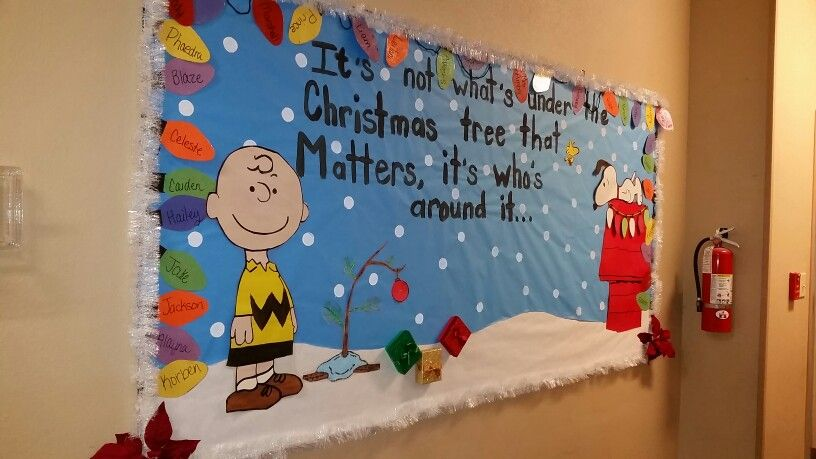 Classroom Door Ideas November ~ Charlie brown christmas bulletin board  classroom