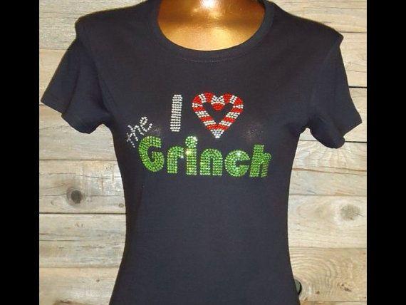 b66c04ad97478 I Love the Grinch Rhinestone Heat Transfer DIY by ebdazzledcom, $13.00