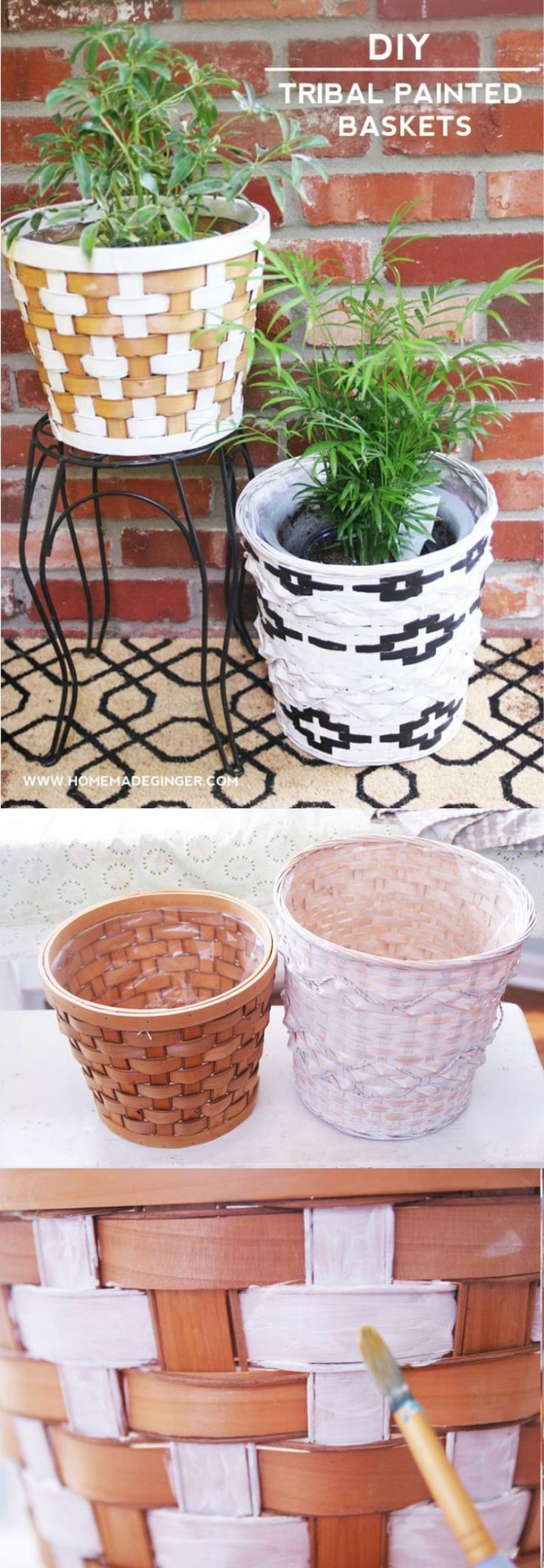 DIY Tribal Painted Baskets for Home Decor - DIY Candy